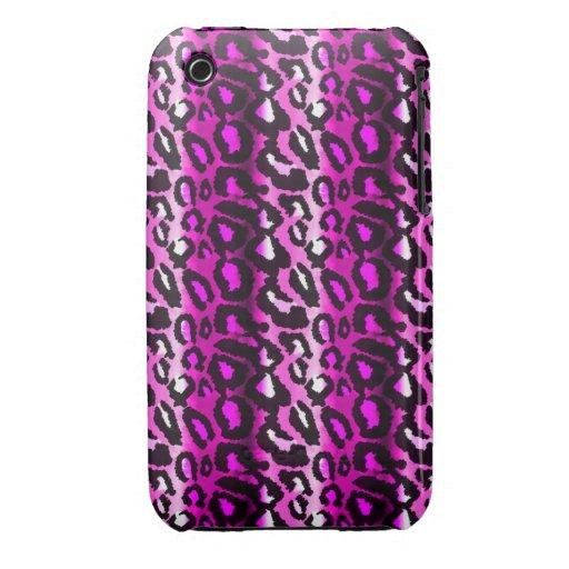 Caja rosada y negra del iPhone 3G del leopardo Funda Para iPhone 3 De Case-Mate