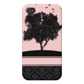 Caja rosada y negra del iPhone 4 del damasco de lo iPhone 4 Protectores