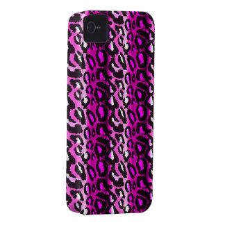 Caja rosada y negra del iPhone 4 del leopardo Case-Mate iPhone 4 Coberturas