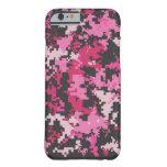 Caja rosada y negra del iPhone 6 de Camo Funda De iPhone 6 Slim