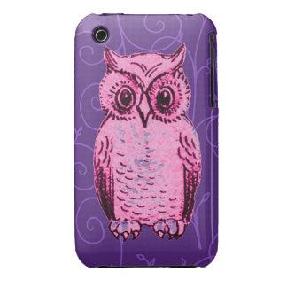 Caja rosada y púrpura del búho de la vid funda bareyly there para iPhone 3 de Case-Mate