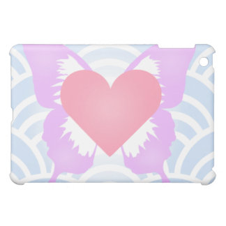 Caja rosada y púrpura del iPad del corazón de la m
