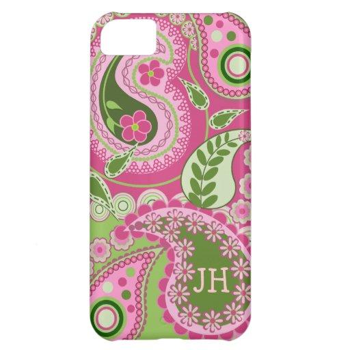 Caja rosada y verde del iPhone 5 de Paisley