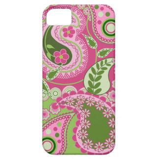Caja rosada y verde del iPhone 5 de Paisley iPhone 5 Case-Mate Fundas