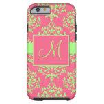 Caja rosada y verde del iPhone 6 del monograma del