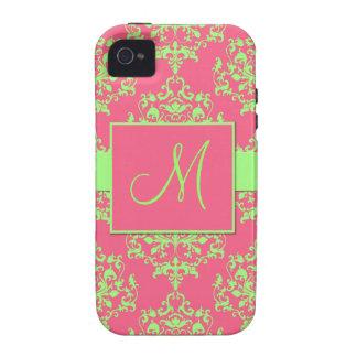 Caja rosada y verde del iPhone del monograma del d Case-Mate iPhone 4 Carcasas