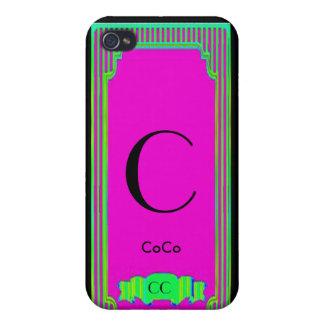 Caja rosada y verde del monograma de las altas cos iPhone 4 funda
