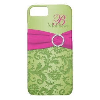 Caja rosada y verde del monograma del damasco del funda iPhone 7