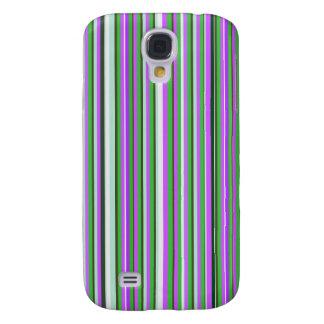 Caja rosada y verde del teléfono de las rayas funda para galaxy s4