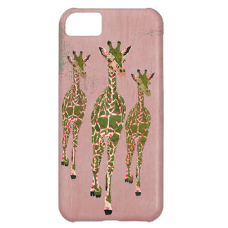 Caja rosada y verde oliva del vintage de las jiraf funda para iPhone 5C