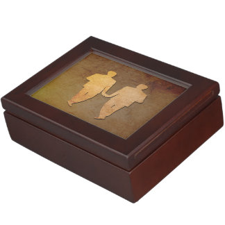 Caja rústica oscura del recuerdo para los novios cajas de recuerdos