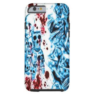 Caja sangrienta azul del iPhone 6 del cráneo Funda De iPhone 6 Tough