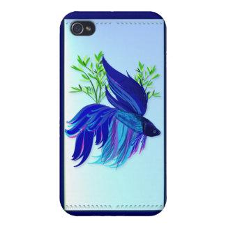 Caja siamesa azul grande del teléfono de los pesca iPhone 4 carcasa