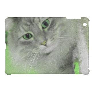 Caja siberiana verde de neón del iPad del gato