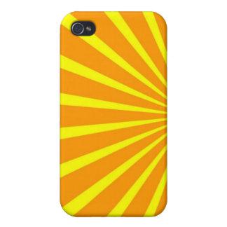 Caja solar de los rayos de la sol amarillo-naranja iPhone 4 cobertura