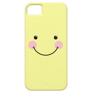 Caja sonriente linda amarilla en colores pastel iPhone 5 carcasas
