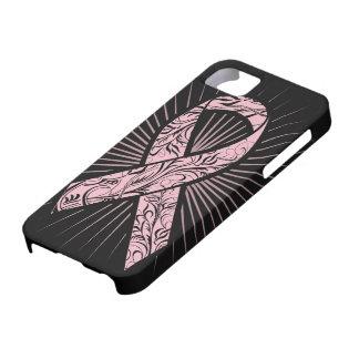 Caja Stylized conciencia de la cinta del cáncer de iPhone 5 Fundas