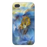 Caja tan azul del arte de las amapolas para el iPh iPhone 4 Protectores