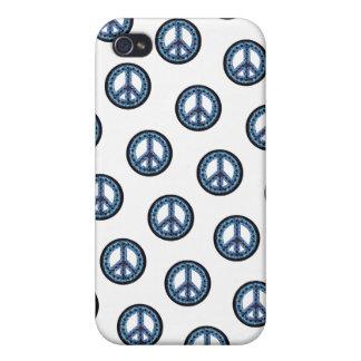 Caja tejada azul de IPhone 4 de la paz iPhone 4 Fundas
