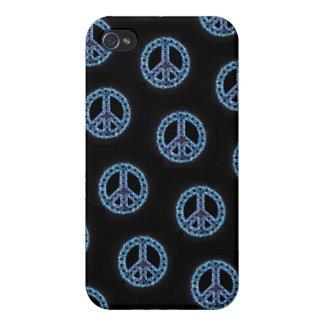 Caja tejada azul de IPhone 4 de la paz iPhone 4 Funda