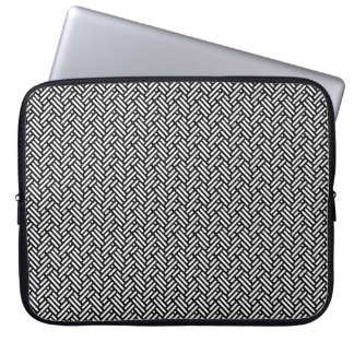 Caja tejida blanco y negro del ordenador portátil funda portátil