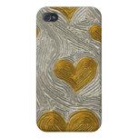 Caja Tela-Embutida mota de los corazones de la pla iPhone 4 Carcasas