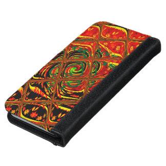 Caja tradicional africana roja de oro de la funda cartera para iPhone 6