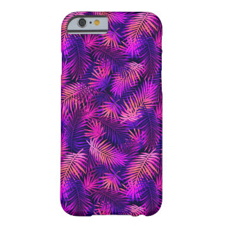 Caja tropical de neón colorida púrpura rosada del funda de iPhone 6 barely there