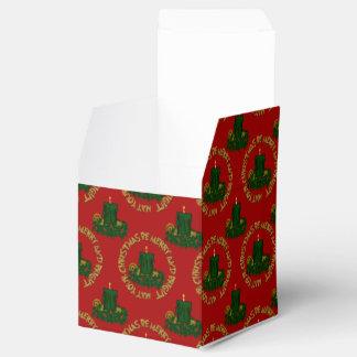 Caja Vela-Sq del favor de Navidad del verde Cajas Para Regalos De Fiestas
