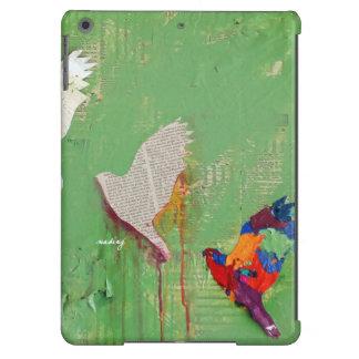 Caja verde abstracta de los pájaros funda para iPad air