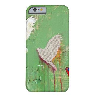 Caja verde abstracta del teléfono de los pájaros funda de iPhone 6 barely there