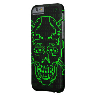 Caja verde binaria del iPhone 6 del cráneo Funda Barely There iPhone 6