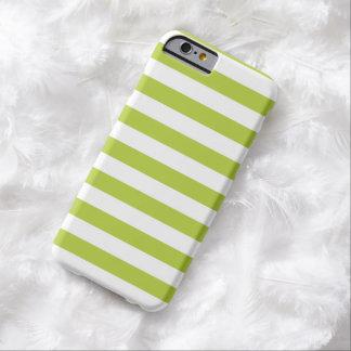 Caja verde chartreuse del iPhone 6 de las rayas Funda De iPhone 6 Barely There