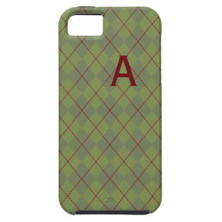 Caja verde con monograma del iPhone 5 de Argyle iPhone 5 Funda