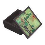 Caja verde de la baratija del arte abstracto de la caja de recuerdo de calidad
