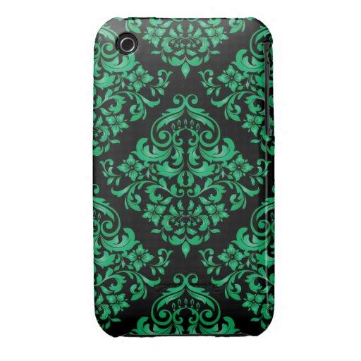 Caja verde de la curva de Blackberry del diseño de iPhone 3 Case-Mate Protectores