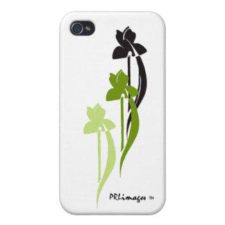 Caja verde de la mota del trío del iris iPhone 4 carcasa
