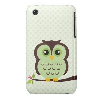 Caja verde del búho para el iPhone 3 iPhone 3 Case-Mate Protector