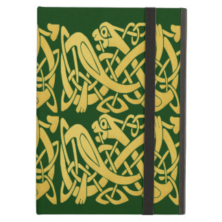Caja verde del iPad de las serpientes de oro célti