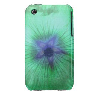 Caja verde del iPhone 3 de la flor del Hollyhock q iPhone 3 Case-Mate Coberturas