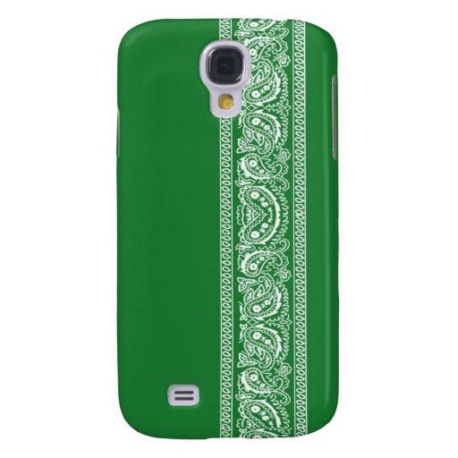 Caja verde del iPhone 3 del pañuelo de Paisley Funda Para Galaxy S4
