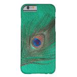 Caja verde del iPhone 6 de la pluma del pavo real