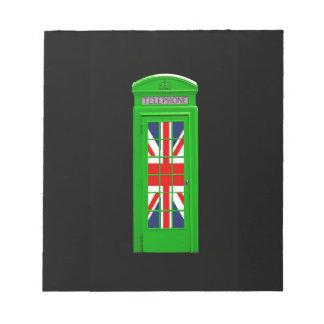 Caja verde del teléfono de Londres Libreta Para Notas
