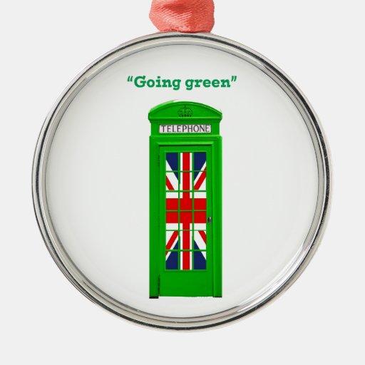 """Caja """"verde"""" del teléfono de Londres que va Adorno Navideño Redondo De Metal"""