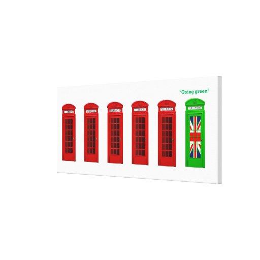 Caja verde del teléfono de Londres que va Impresiones En Lona Estiradas