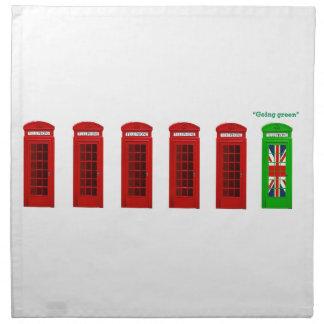 Caja verde del teléfono de Londres que va Servilletas Imprimidas