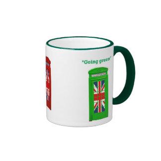 """Caja """"verde"""" del teléfono de Londres que va Taza De Dos Colores"""