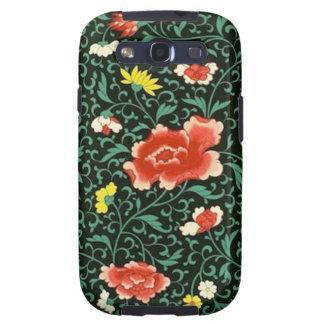 Caja verde floral china de la galaxia de Samsung Galaxy S3 Funda