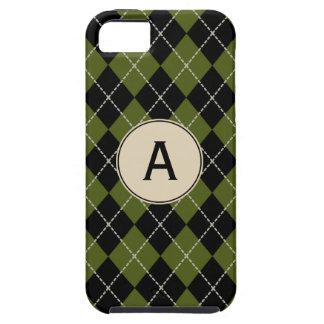 Caja verde oliva con monograma del iPhone 5 de iPhone 5 Carcasa