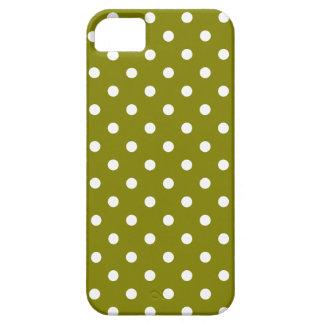 Caja verde oliva y blanca del modelo de lunar funda para iPhone 5 barely there